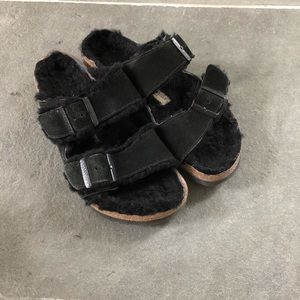 BIRKENSTOCK Arizona Suede Black Shearling 8.5